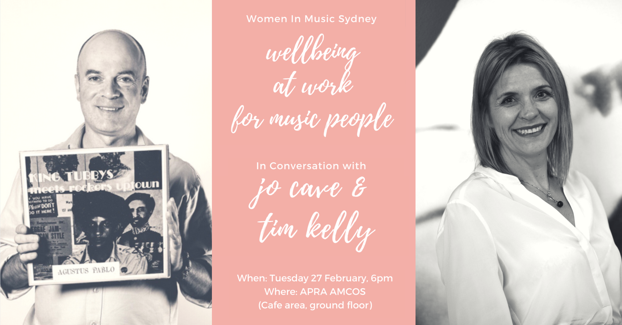 Women In Music Sydney Australia and Jaxsta are proud to present a night on mental health in the music industry:  Well being / at work / for music people - In Conversation with Jo Cave (Support Act) and Tim Kelly (Australian Institute of Music).   Featuring two of the most respected figures in the Australian music industry, this insightful talk will address struggles and challenges faced by musicians and music industry professionals, and the ways we can overcome them, as we head into the new year. It all kicks off at 6pm on Tuesday 27 February at APRA AMCOS (Cafe area, ground floor). Grab your tickets now to avoid missing out! Tickets are $25+bf and include food and drink on the night.